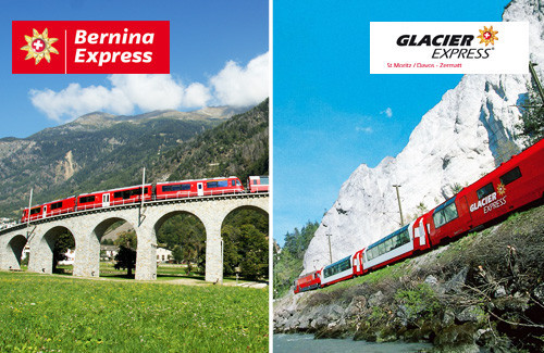 Bernina Express oder Glacier Express für 1 Person