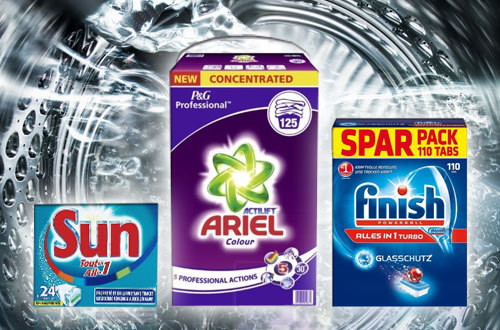 Verbrauchsartikel Ariel, Finish und Sun