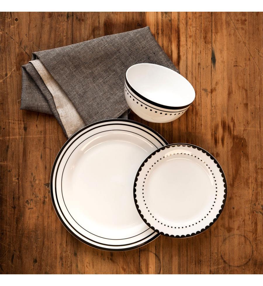 service de table blanc et noir. Black Bedroom Furniture Sets. Home Design Ideas